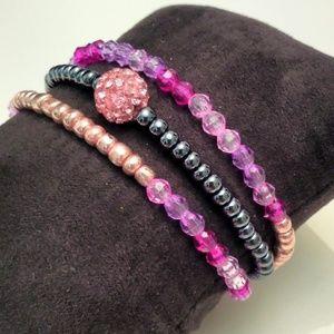 🔥2/$10🔥Rose Rhinestones Bracelets Bundle
